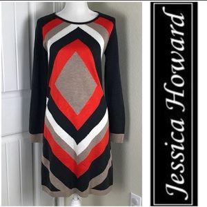 Jessica Howard Sweater-shirt Geometric Dress M